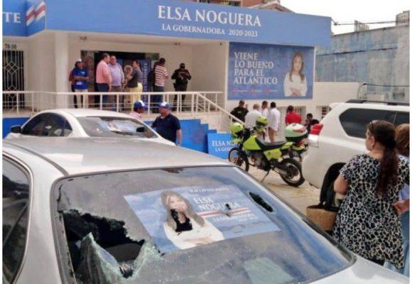 Agresivo ataque de encapuchados a la sede de Elsa Noguera