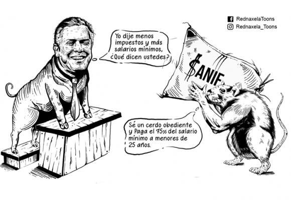Caricatura: La perjudicial solución de la Anif para el desempleo en Colombia