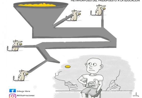 Caricatura: La metamorfosis del presupuesto de la educación