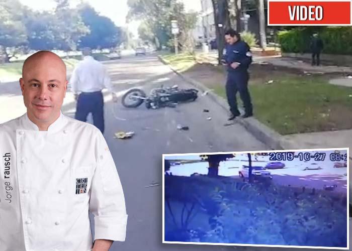Video. Esposa del chef Jorge Rausch atropella a un motociclista y huye