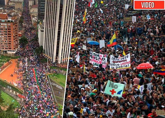 La marcha en Bogotá: más de 100.000 personas salieron a la calle