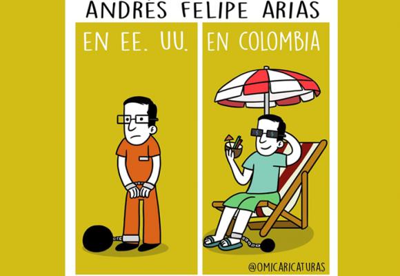Caricatura: Justicia estadounidense versus justicia colombiana