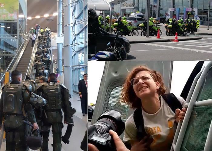 Video. Protesta pacífica en el Aeropuerto El Dorado terminó con Esmad y Policía