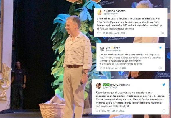 Los ataques de los uribistas al Hay Festival por la ovación a Santos