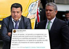 El chantaje del líder de los taxistas al presidente Duque