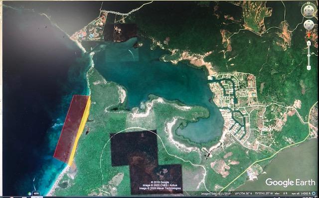 Fig 1. Zonas de cierre y anidación establecidas en Res. 0774 de 2018 (Fuente: adaptado de Google Earth)