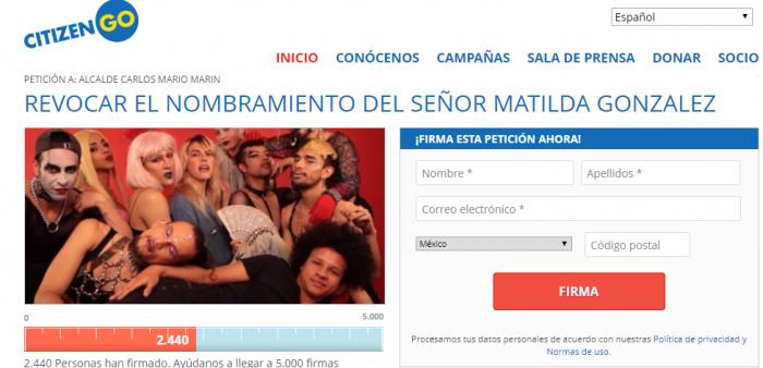 Fotografía tomada de la página web Citizen Go, donde se hizo la firma de solicitudes