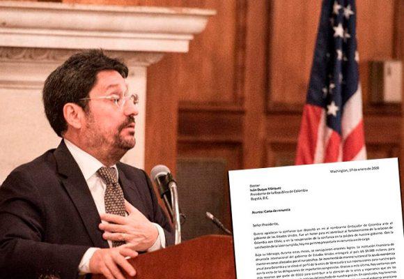 ¿Qué le dice Pacho Santos a Duque en su carta de renuncia?