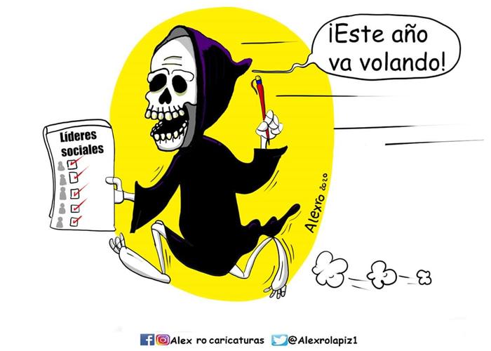 Caricatura: La muerte en Colombia