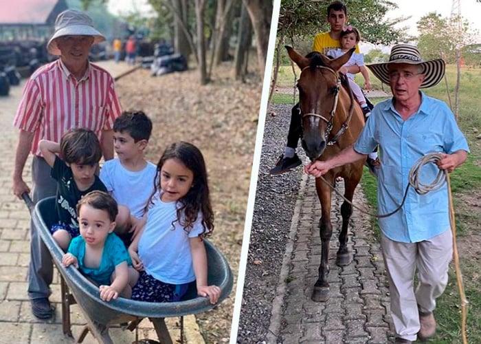 Las vacaciones de Uribe: un abuelo feliz