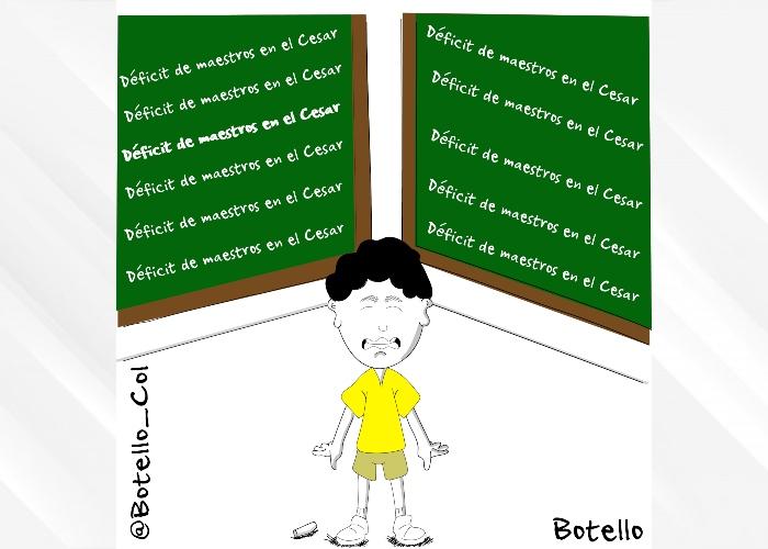 Caricatura: Déficit de maestros en el Departamento del Cesar