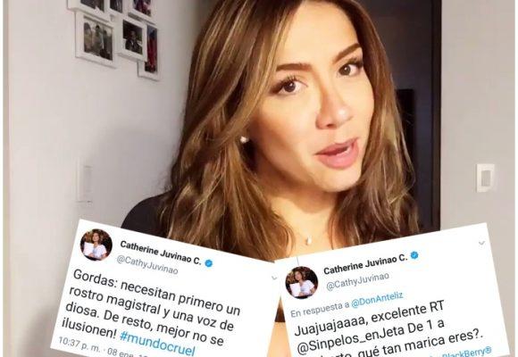 Las bromas homofóbicas que escribió en su twitter Catherine Juvinao hace 10 años