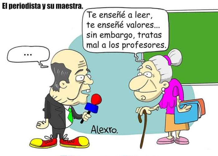 Caricatura: El periodista y su maestra