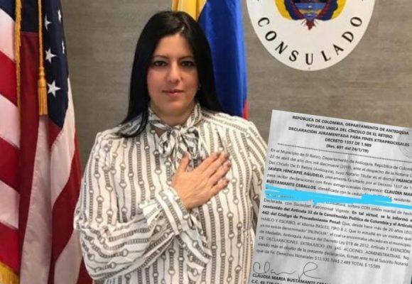 A la cónsul uribista en Orlando le certificaron el inglés en una notaría