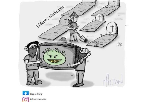 Caricatura: Cortina de virus