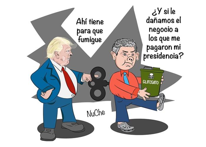 Caricatura: Trump y su fracasada guerra contra las drogas en Colombia
