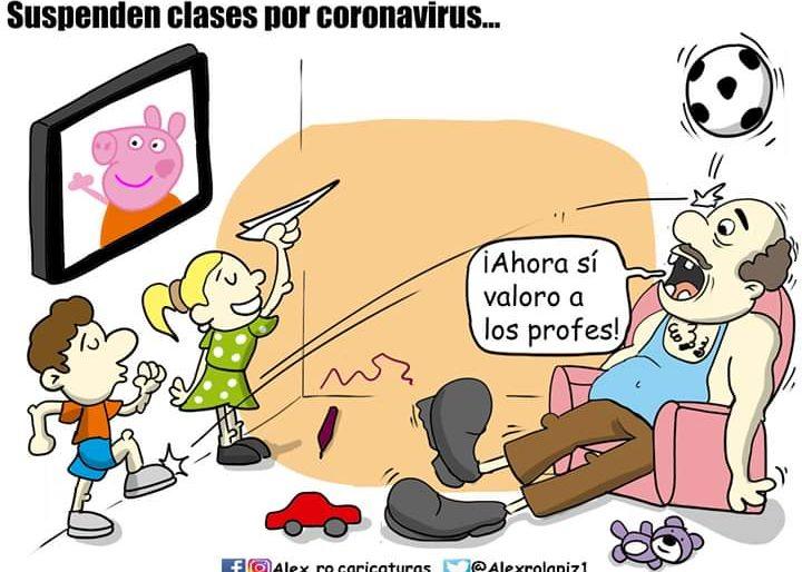 Caricatura: Suspenden clases por Coronavirus