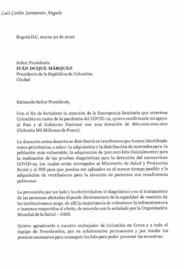Sarmiento Angulo dona $80.000 millones para enfrentar el Coronavirus