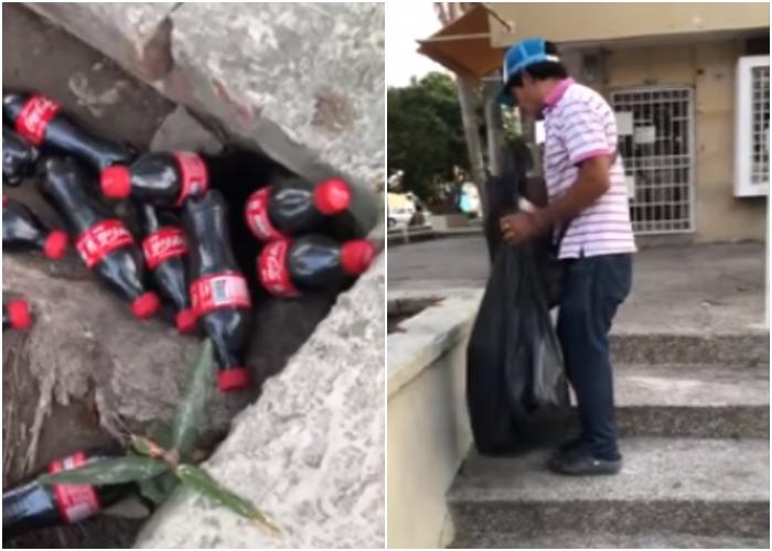 Sin miedo al Coronavirus: Hombre es descubierto reenvasando botellas sucias de Coca Cola