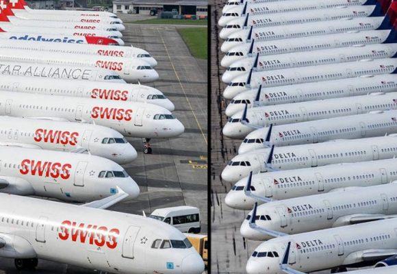 Aviones en tierra y los cielos vacíos