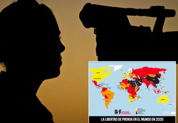 Mapa de los países que con más censura a la prensa según Reporteros Sin Fronteras