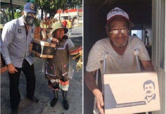 La hija del 'Chapo' Guzmán entrega víveres y mascarillas con la imagen de su padre