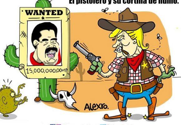 Caricatura: El pistolero y su cortina de humo
