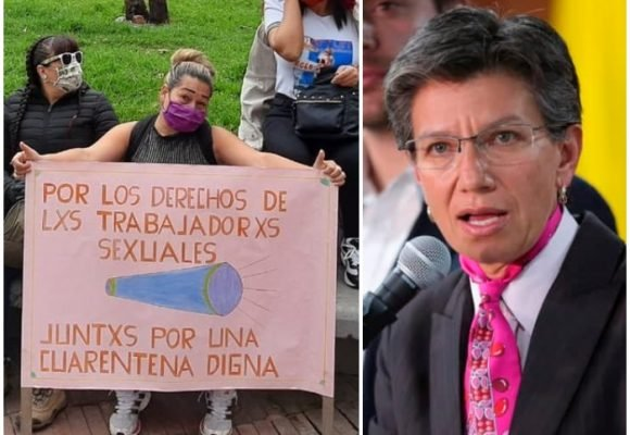 Trabajadoras sexuales arman plantón en la casa de Claudia López