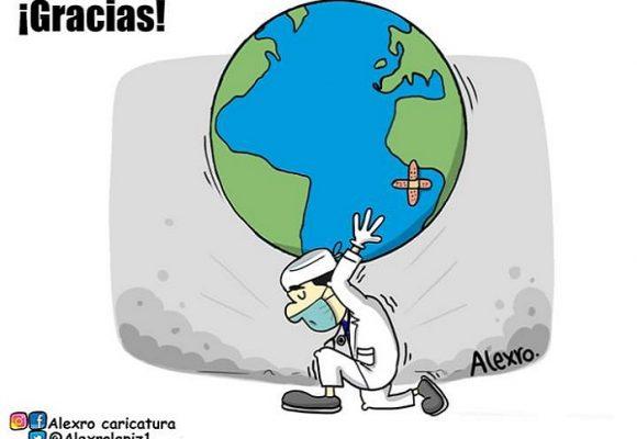 Caricatura: A todos los profesionales de salud, gracias