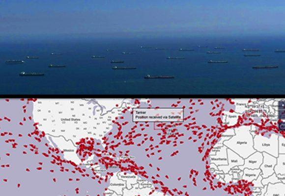 Invasión de barcos petroleros a la espera de que suba el precio