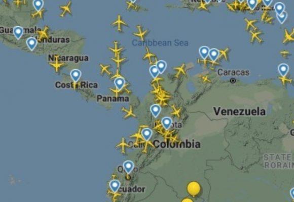 Se llenó de aviones el cielo colombiano