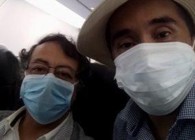 Gustavo Petro a bordo del vuelo que lo trae de regreso a Colombia