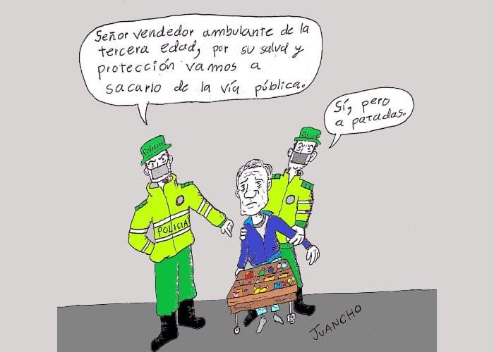 Caricatura: Brutalidad policial en tiempos de cuarentena