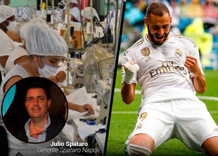Los fabricantes de las camisetas del Real Madrid en Cali, ahora hacen trajes de bioseguridad