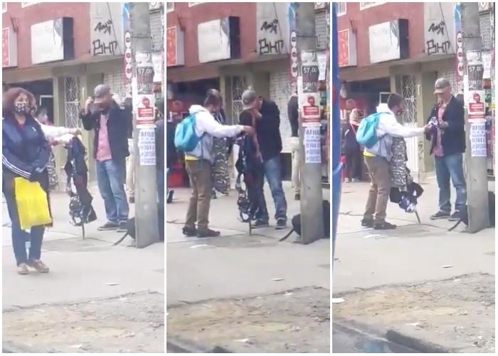 Se están probando los tapabocas en la calle. Video