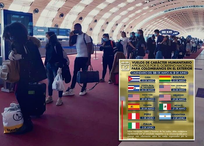 Once nuevos vuelos humanitarios traerán 2000 colombianos varados