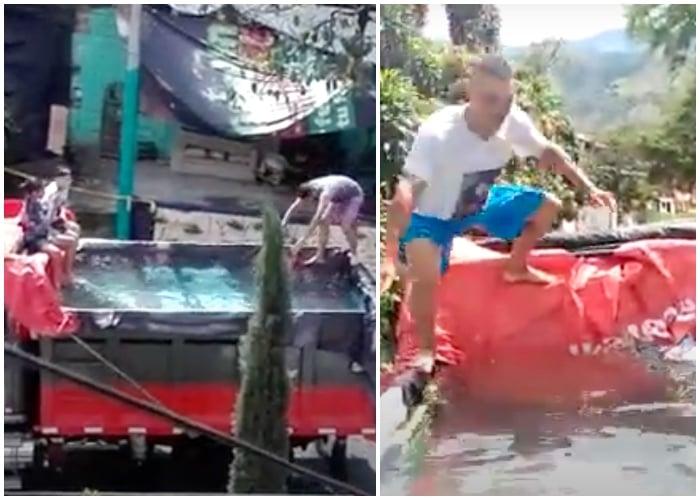 La volqueta piscina, la nueva colombianada en plena cuarentena [VIDEO]