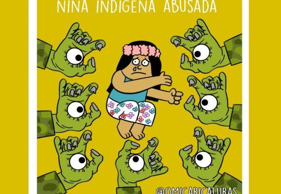 Caricatura: Abuso a niña indígena