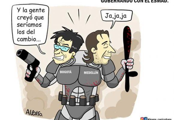 Caricatura: Gobernando con el ESMAD