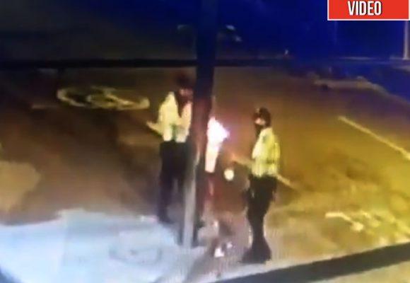 Policías vándalos: le prenden fuego a una esquina en Bogotá