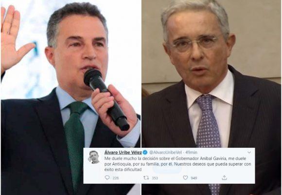 La tristeza de Uribe por la captura del gobernador Aníbal Gaviria
