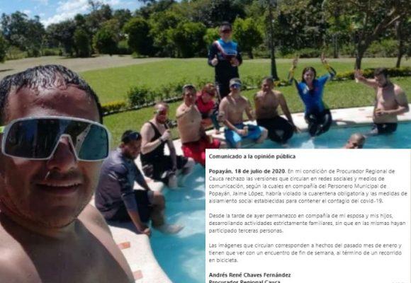 El Procurador del Cauca dice que no estuvo de piscina en cuarentena
