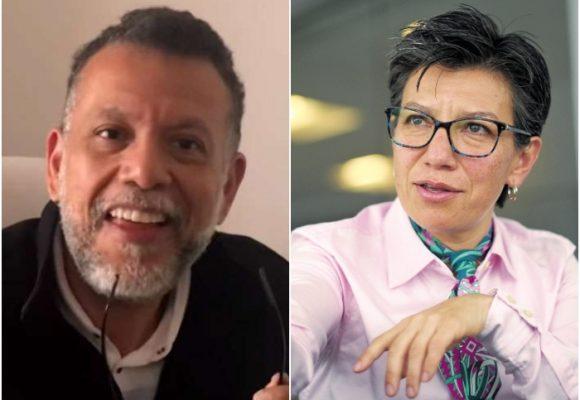 Furia del Padre Linero con Claudia López