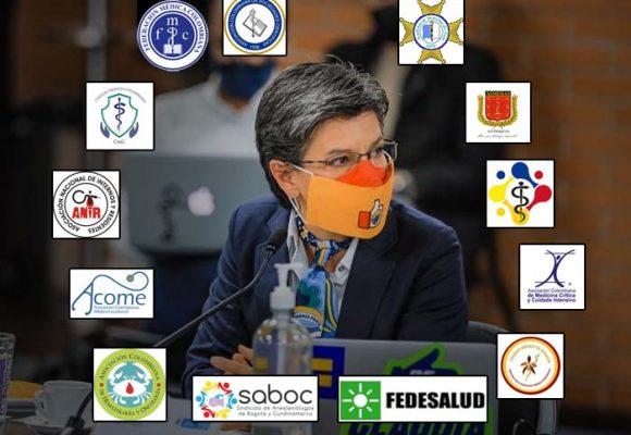Claudia López cercada por los médicos: piden cuarentena general para Bogotá