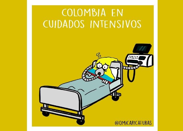 Caricatura: Colombia en cuidados intensivos
