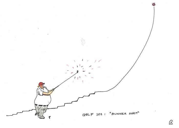 Caricatura: Trump y sus clases de coronagolf