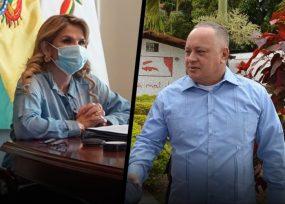 Diosdado Cabello y la presidenta de Bolivia con Covid-19
