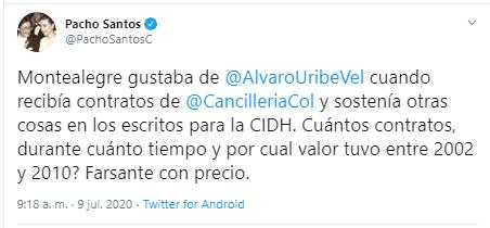 ¿Por ayudar a Uribe lo hundió más? Revuelo por tweet de Pacho Santos