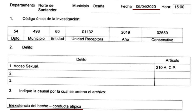 Fragmento del documento de la Fiscalía en el que se ordena el archivo.