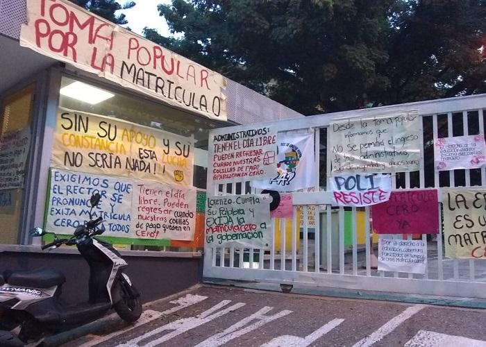 Buscando matrícula cero, los estudiantes se tomaron el Tecnológico de Antioquia
